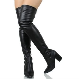 Black pointy toe over the knee Heel boots